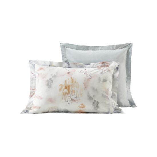 LOT 2 TAIES D'OREILLERS PERCALE COTON MOTIF NATURE