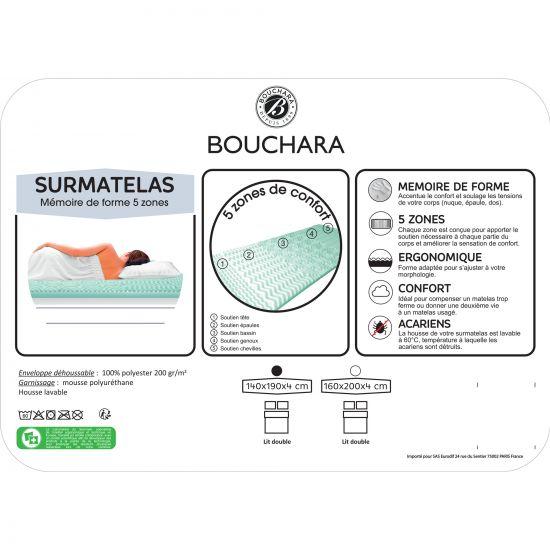 SURMATELAS 5 ZONES À MEMOIRE DE FORME