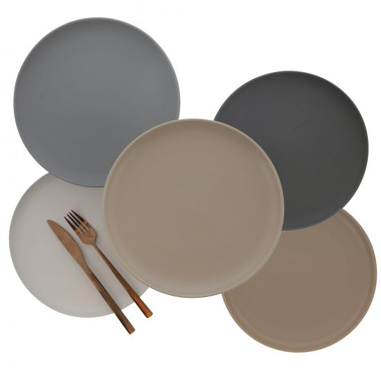 ASSIETTE PLATE UNIE EN PORCELAINE FORMES ARRONDIES