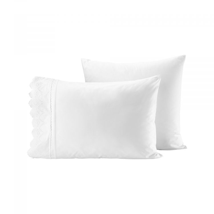 LOT DE 2 TAIES EN PERCALE BRODERIE ANGLAISE
