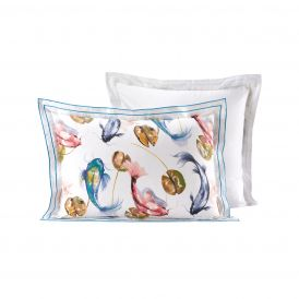 LOT 2 TAIES OREILLERS SATIN DE COTON MOTIF POISSON