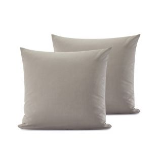 LOT DE 2 TAIES D'OREILLER UNIES EN COTON