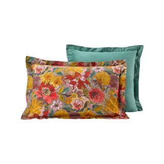 LOT DE 2 TAIES D'OREILLER PERCALE BOUQUET FLORAL