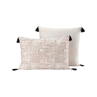 LOT DE 2 TAIES D'OREILLER PERCALE MOTIF ETHNIQUE