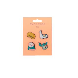 LOT DE 4 BADGES FANTAISIE LAMA & CACTUS