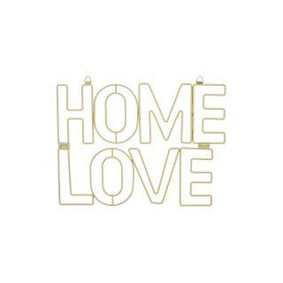 """DÉCORATION MURALE EN MÉTAL DORÉ  """"HOME LOVE"""""""