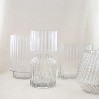 VASE RECTANGULAIRE EN VERRE STRIÉ GRAND FORMAT